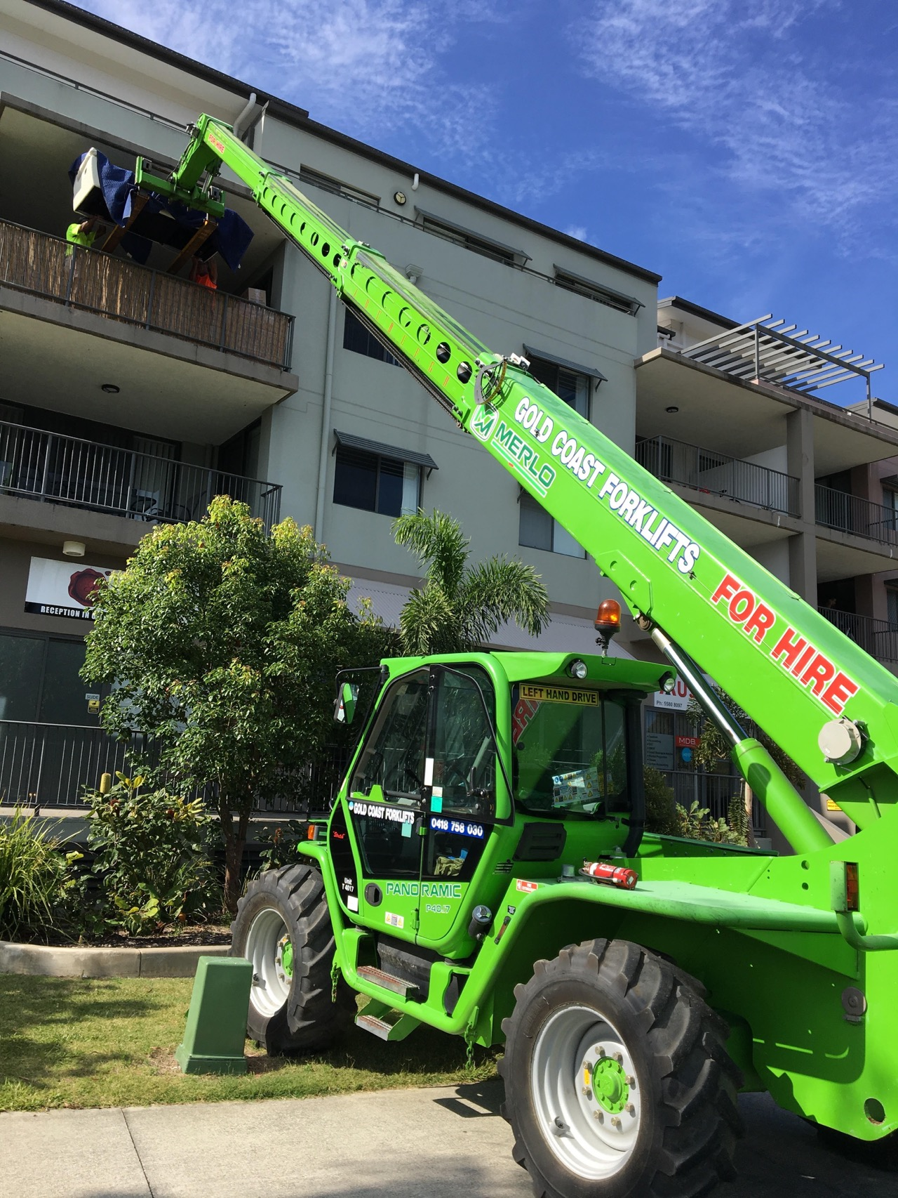 Stretch In Action Operator Service Furniture To The 3rd Floor Balcony